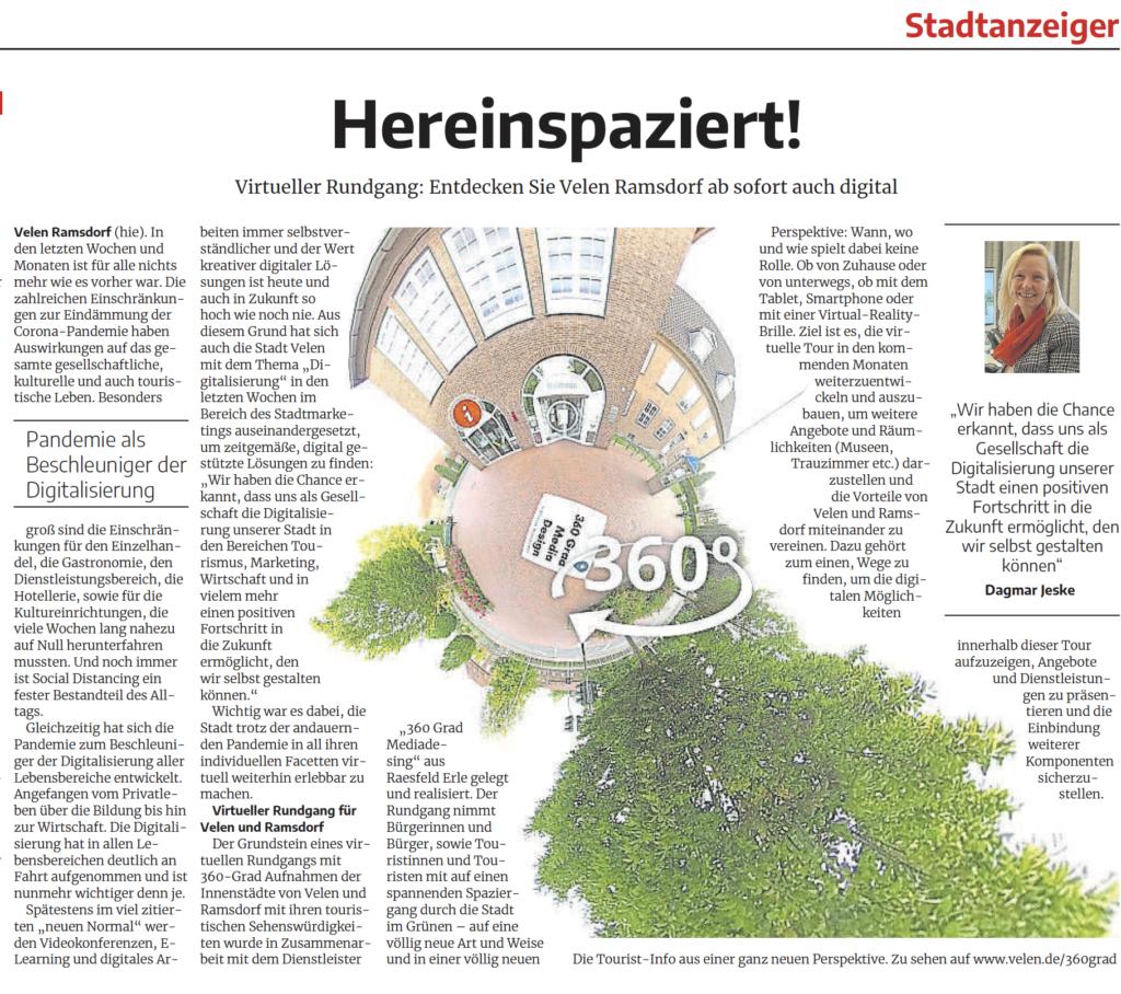 Virtueller Rundgang: Entdecken Sie Velen Ramsdorf ab sofort auch digital